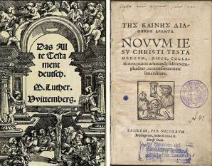 Left, Protestant Bible (German) Right, early Christian Bible (Greek)